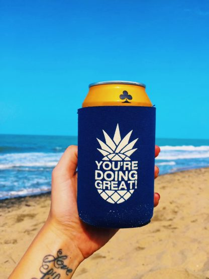 Navy Pineapple Koozie on Beach