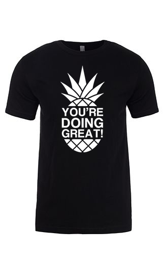 YDG Monotone Pineapple Unisex Black T-shirt