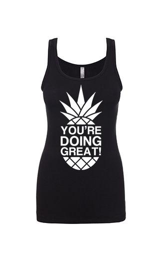 YDG Monotone Pineapple Women's Black Tank Top
