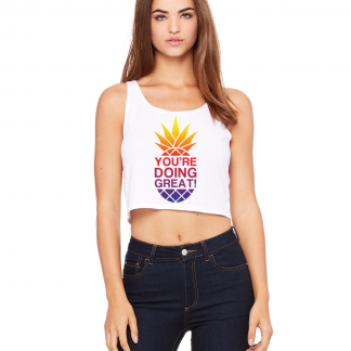 YDG Women's Pineapple Sunset White Crop Top