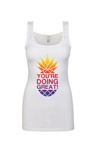 YDG Sunset Pineapple Women's White Tank Top